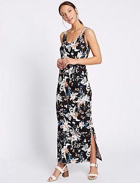 Havana Floral Print Maxi Dress with Belt