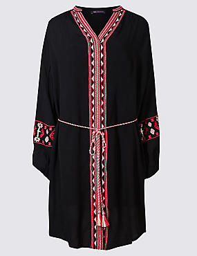 Embroidered Long Sleeve Shirt Dress