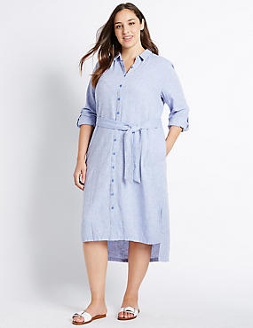 PLUS Linen Rich Chambray Shirt Midi Dress