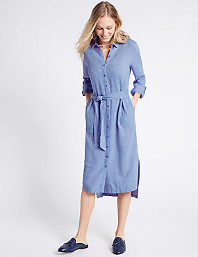 Linen Rich Shirt Midi Dress with Belt