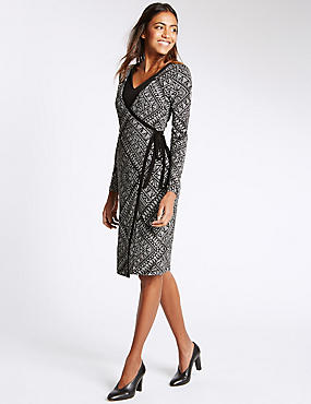 Printed Tribal Layered Wrap Dress with Tie