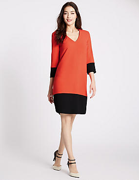 Colour Block 3/4 Sleeve Tunic Dress