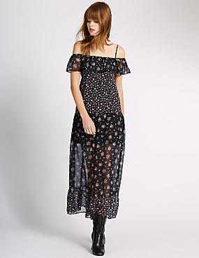 Loose Fit Ditsy Maxi Dress