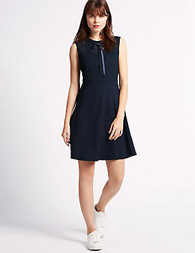 Swing Fit Mesh Insert Fit & Flare Dress