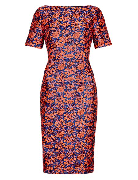Best of British Floral Jacquard A-Line Dress