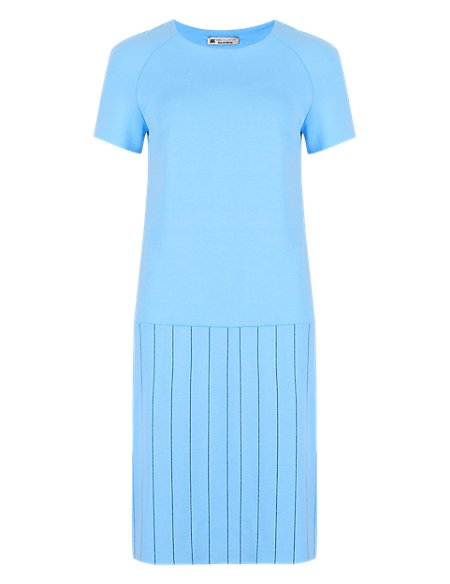 Raglan Pinstriped Short Sleeve Shift Dress