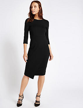 Mock Wrap 3/4 Sleeve Bodycon Dress, BLACK, catlanding