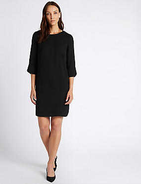 Bar Back 3/4 Sleeve Tunic Dress, BLACK, catlanding