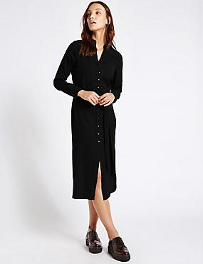 Long Sleeve Shirt Midi Dress with Belt