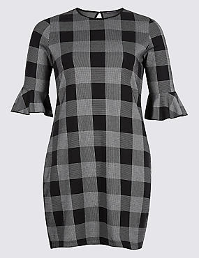 PLUS Cotton Rich Striped Check Tunic Dress