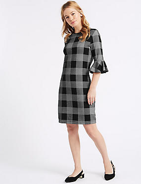 PETITE Cotton Rich Checked Tunic Dress