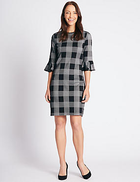 Cotton Rich Checked 3/4 Sleeve Tunic Dress