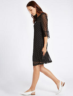 Spotted Flared Sleeve Tunic Midi Dress
