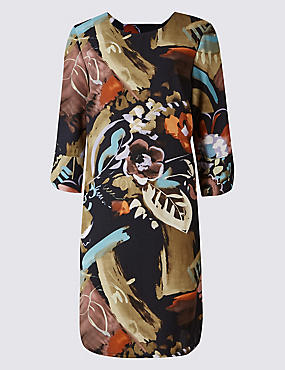 PLUS Printed Bar Back Tunic Midi Dress