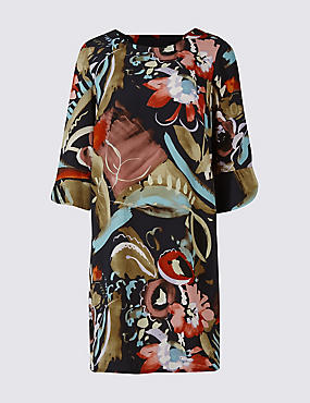 PETITE Printed Bar Back Tunic Midi Dress