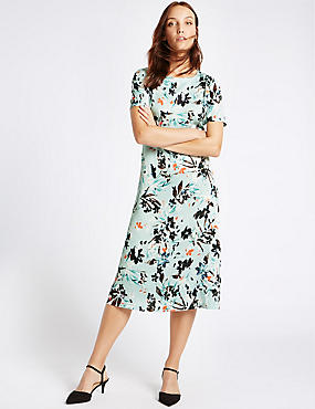 Floral Print Short Sleeve Tunic Midi Dress