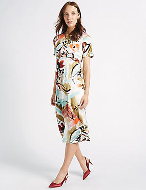 Painted Floral Print Swing Midi Dress