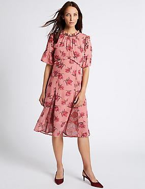 Floral Print Ruffle Half Sleeve Midi Dress