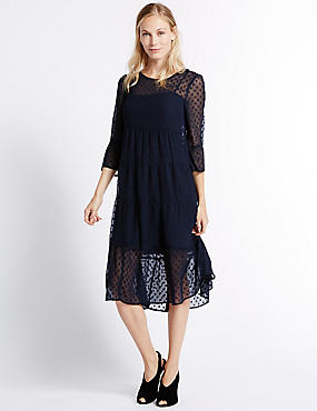Polka Dot 3/4 Sleeve Tunic Midi Dress