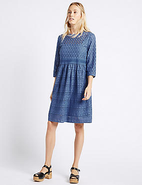 Pure Cotton Cutwork Tunic Midi Dress