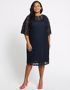 CURVE Cotton Blend Lace Tunic Midi Dress, NAVY, catlanding