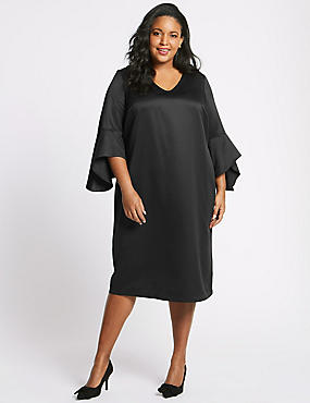CURVE Flute Sleeve Midi Dress