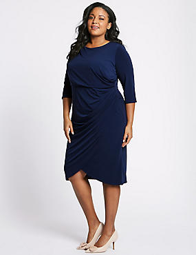 CURVE Drape Half Sleeve Wrap Midi Dress, NAVY, catlanding