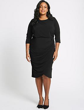 CURVE Drape Half Sleeve Wrap Midi Dress, BLACK, catlanding
