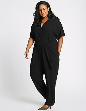 CURVE Pleated Front Wrap Jumpsuit