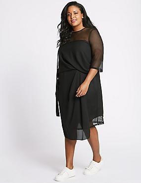 CURVE Half Sleeve Mesh Midi Dress, BLACK, catlanding