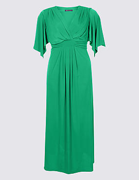 CURVE Front Knot Half Sleeve Maxi Dress