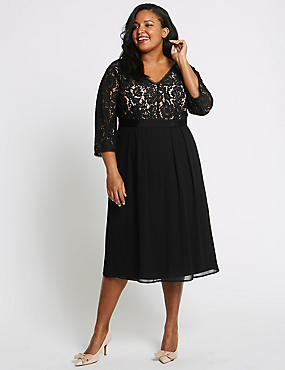 CURVE 3/4 Sleeve Lace Detail Dress, BLACK, catlanding