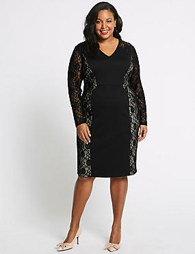 CURVE Lace Long Sleeve Bodycon Midi Dress, BLACK MIX, catlanding