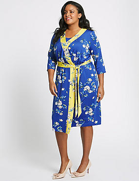 CURVE Floral Print ¾ Sleeve Wrap Midi Dress, BLUE MIX, catlanding