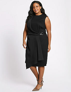 CURVE Side Buckle Wrap Midi Dress, BLACK, catlanding