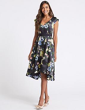 Floral Print Short Sleeve Skater Dress , NAVY MIX, catlanding