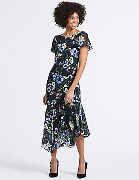 Floral Print Asymmetric Tunic Midi Dress