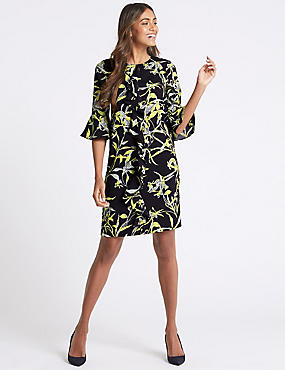 Printed Ruffle Front Tunic Dress, NAVY MIX, catlanding