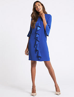 Ruffle Front 3/4 Sleeve Tunic Dress