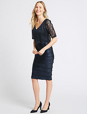 Lace Shutter Midi Dress, NAVY, catlanding