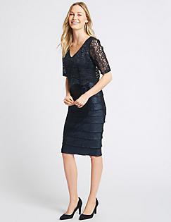 Dress for Women, Evening Cocktail Party On Sale, Navy Blue, Cotton, 2017, 10 12 14 8 Sun 68