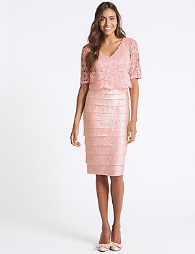 Lace Shutter Midi Dress, BLUSH, catlanding
