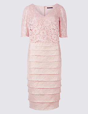 Lace Shutter Pleated Shift Midi Dress