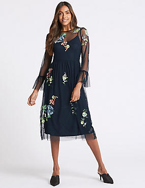 Embroidered Mesh Long Sleeve Midi Dress