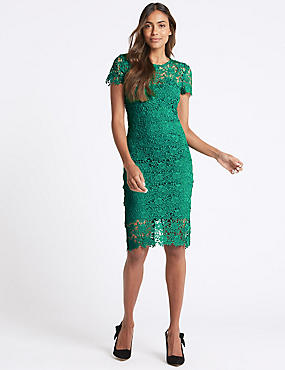 Lace Sheath Short Sleeve Bodycon Midi Dress