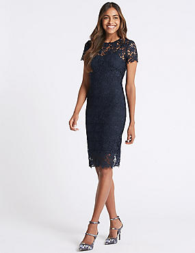 Lace Sheath Short Sleeve Bodycon Midi Dress, NAVY, catlanding