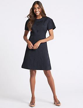 Embossed Jacquard Short Sleeve Shift Dress, NAVY, catlanding