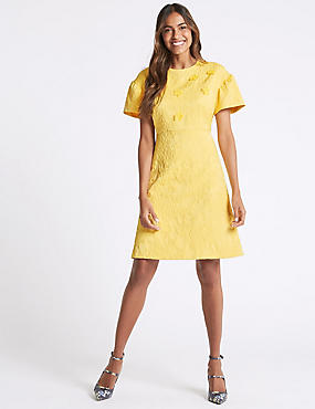 Embossed Jacquard Short Sleeve Shift Dress, YELLOW, catlanding
