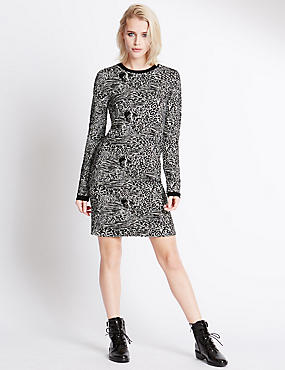 Jacquard Long Sleeve Printed Dress