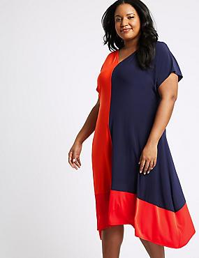 CURVE Colour Block Jersey A-Line Midi Dress , RED MIX, catlanding
